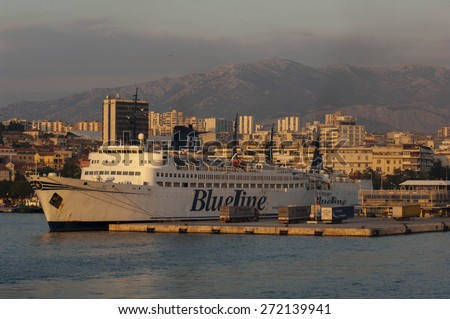 SPLIT/CROATIA 1ST OCTOBER 2006 - A large ferry from Blue Line is docked in Split Harbour - stock photo