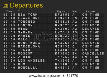 Split flap mechanical departures board - stock photo