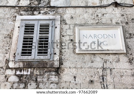 Split in Dalmatia, Croatia. Narodni Trg - main square sign (National Square).