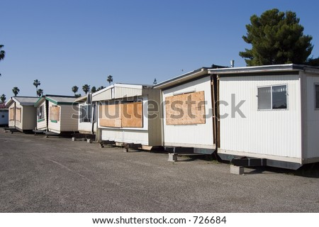 Split in half mobile homes for sale. - stock photo