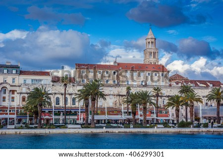 Split is main touristic city on Adriatic coast in Croatia, Diocletian Palace is under protection of UNESCO. / Split waterfront cityscape Croatia. - stock photo