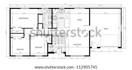 Split Level House Floor Plan with Room Names and Dimensions - stock photo