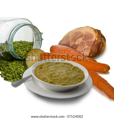Split Pea Soup Illustrating Ingredients - stock photo