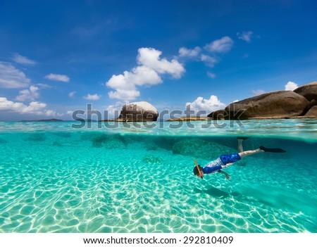 Split photo of little boy snorkeling in turquoise ocean water at tropical island of Virgin Gorda, British Virgin Islands, Caribbean - stock photo