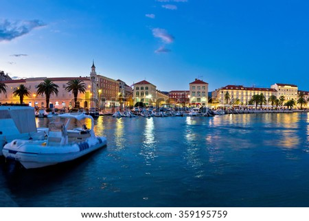 Split Prokurative seafront evening view, Dalmatia, Croatia - stock photo