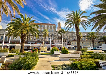Split Riva palm waterfront view, Dalmatia, Croatia - stock photo