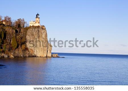 Split Rock Lighthouse on Lake Superior in Minnesota - stock photo