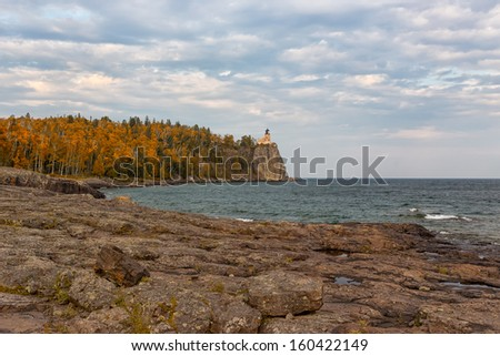 Split Rock Lighthouse on  North Shore of Lake Superior in Minnesota, USA. - stock photo