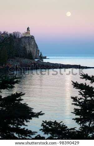 Split Rock Lighthouse on the North Shore of Lake Superior, Minnesota - stock photo