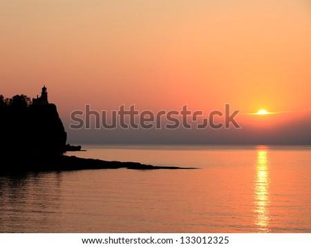 Split Rock state park on the Lake Superior north shore in Minnesota at sunrise - stock photo