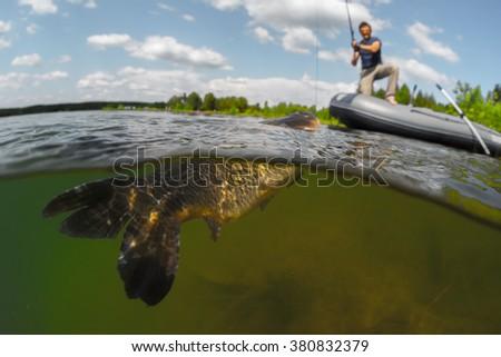 Split shot man fishing on lake stock photo 381070060 for Split shot fishing