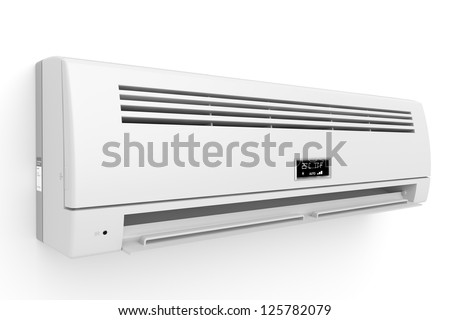 Split-system air conditioner on white wall - stock photo