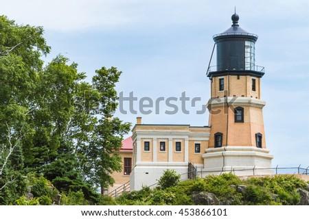 Splitrock historical lighthouse overlooking Lake Superior - stock photo