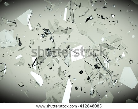 Splitted or cracked glass pieces with high resolution