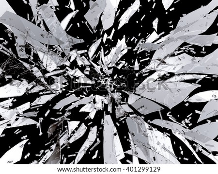 Splitted or Shattered glass isolated on black - stock photo