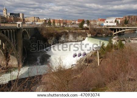 Spokane Falls in downtown Spokane WA at Riverside Park. - stock photo