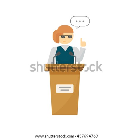 Spokeswoman on podium isolated on white background, flat cartoon woman speaker person on tribune, business orator speaking, talking, concept of conference, lecturer, leader, politician debate image - stock photo