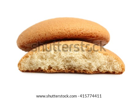 Sponge biscuits. Isolated on a white background. - stock photo