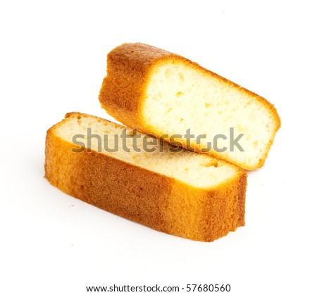sponge cake on white background - stock photo