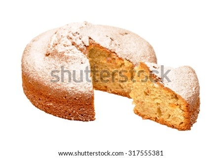 Sponge cake sprinkled with powdered sugar isolated on white background. Funnel cake sprinkled with powdered sugar isolated on white background. - stock photo