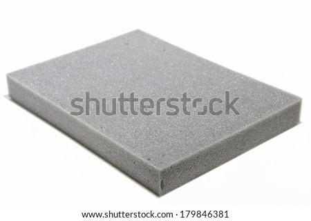 Sponge cushioning Grey color on white background - stock photo