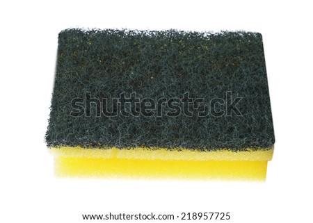 sponge for wash utensil. isolated on white - stock photo