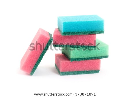 Sponge stack, 5 sponges isolated on white