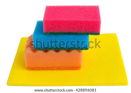 sponges and napkin isolated - stock photo