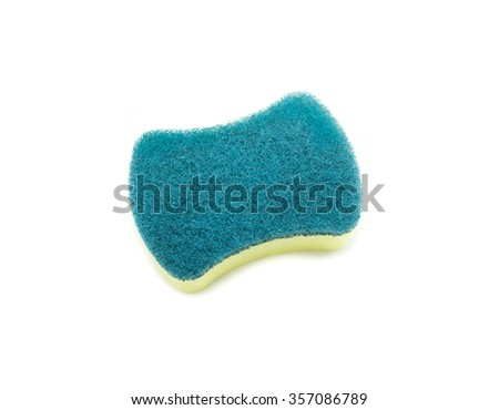 Sponges for dishwashing on white background, Scotch Brite dishwashers - stock photo