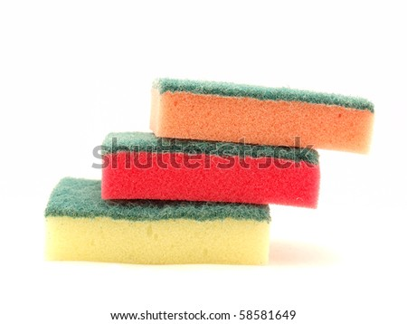Sponges for the dishes on a white background