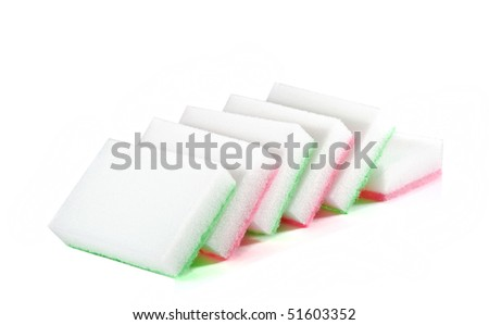 sponges for washing dishes on white
