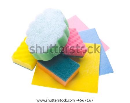 Sponges isolated on white - stock photo