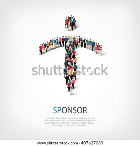 sponsor people sign 3d - stock photo