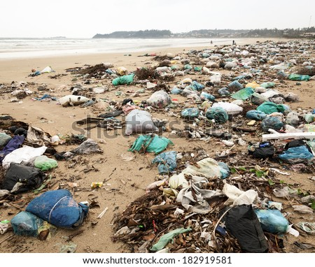 Spontaneous garbage dump on a beach in Vietnam - stock photo