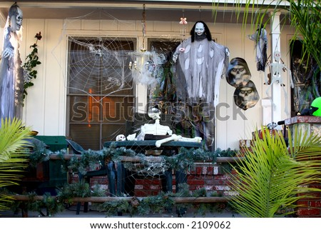 Spooky and scary porch decorated for Halloween - stock photo