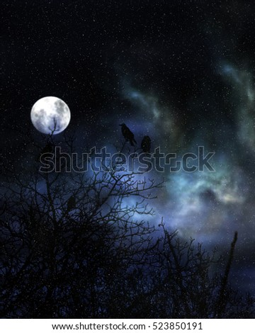 Spooky birds and moon