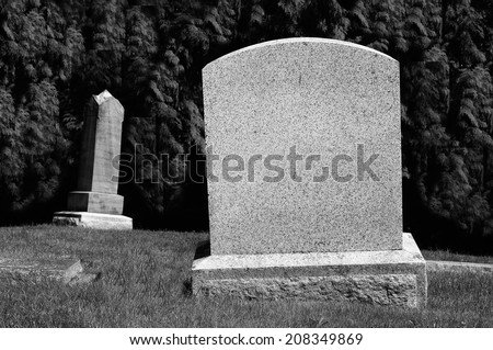 Spooky Blank Tombstones - stock photo