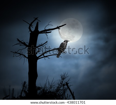 Spooky crow perched on a naked tree in a cloudy full moon night - stock photo