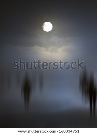 Spooky diffuse entities walking. Other versions in my portfolio. - stock photo