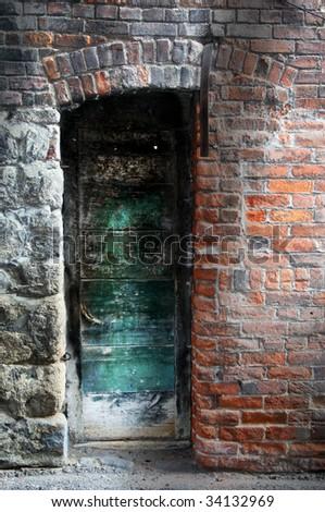 Spooky door - stock photo