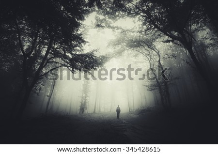 spooky forest scene with man silhouette and dark fog - stock photo