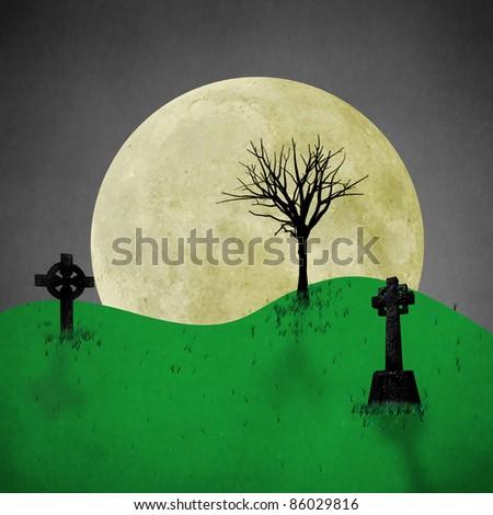 spooky halloween background. - stock photo