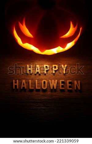 Spooky Halloween background with jack o lantern - Happy Halloween - stock photo