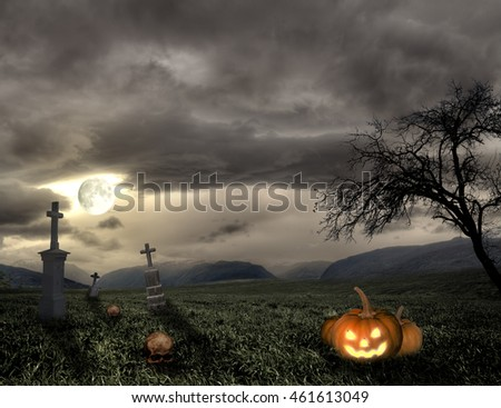 Spooky Halloween graveyard with pumpkin