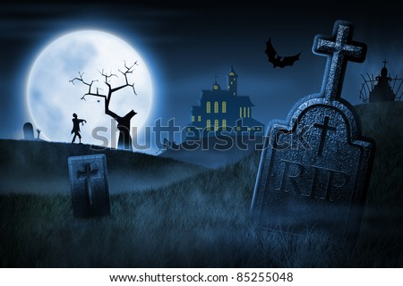 Spooky Halloween night. Foggy cemetery and haunted house on background - stock photo