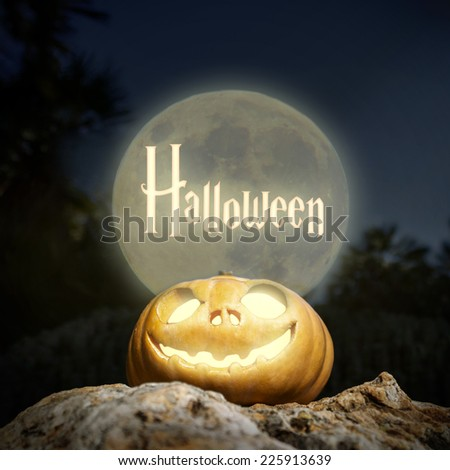 Spooky Halloween scary pumpkin jack-o-lantern with a smile in moon light on a rock from bottom perspective template illustration - stock photo