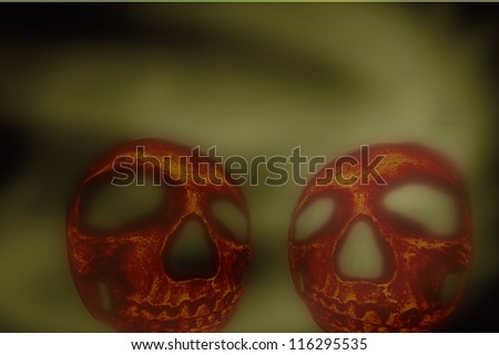 Spooky Halloween skull pumpkin heads - stock photo