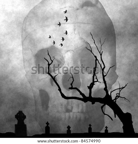 Spooky image of cemetery in a dark foggy night. Perfect halloween background. - stock photo