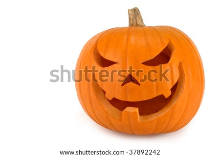 Spooky Jack-o-lantern with evil lopsided grin on white background - stock photo