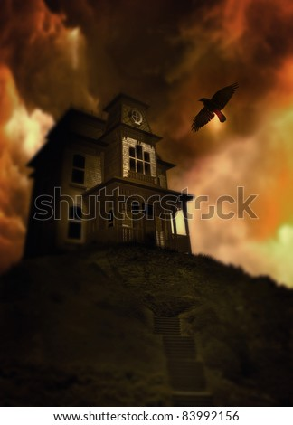 Spooky looking house on a hill in the style of Norman Bates house in the movie Psycho. In the background a dark gloomy cloudy sky and in the sky a lone crow or raven flys. - stock photo